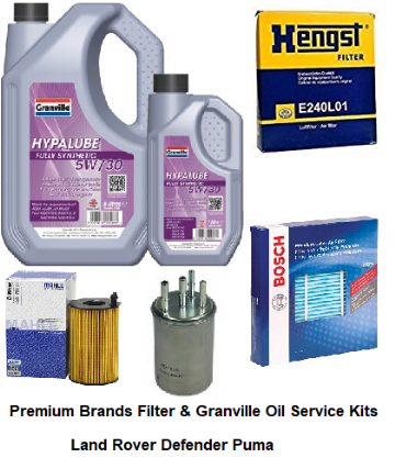KIT102A Premium Filter Kit with Oil (NON DPF) Defender Puma (With Paper Element Oil Filter)